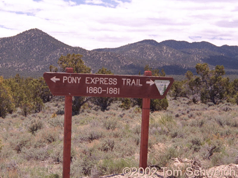 Sign showing route of Pony Express trail at south end of Ruby Mountains.