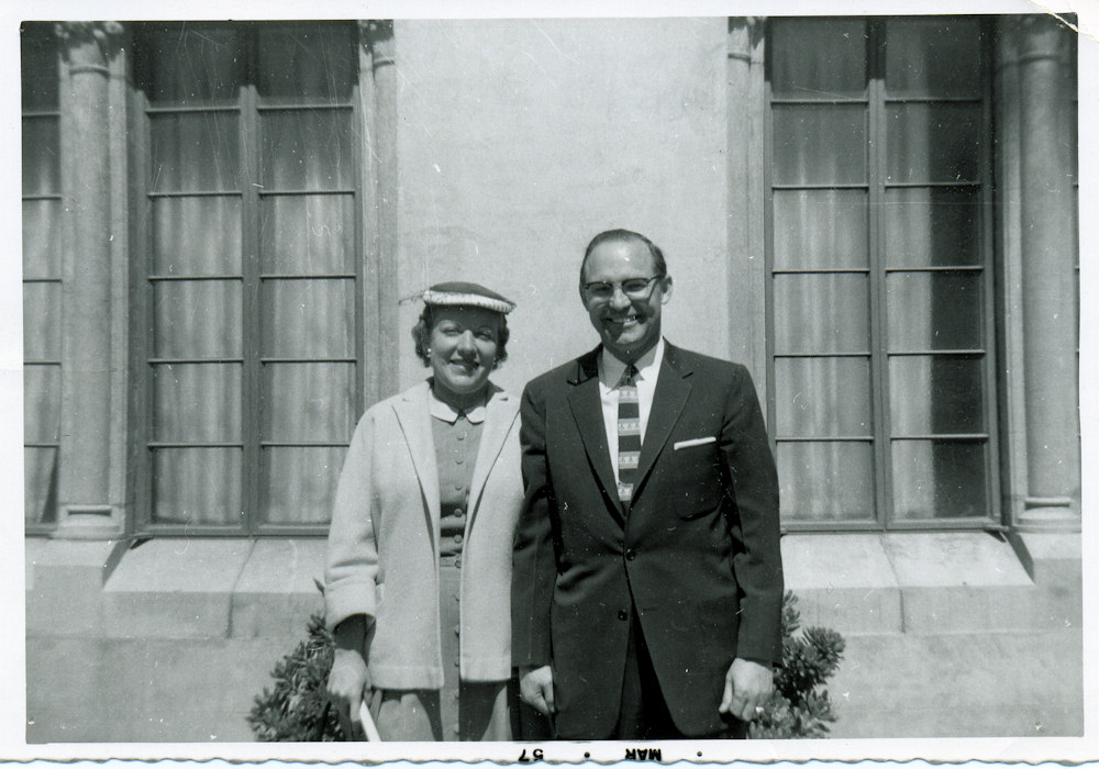 Aunt Olga and Uncle Ivan at Phoenix First Baptist, 1957